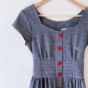 Vintage Grey with Red Buttons Jody Dress